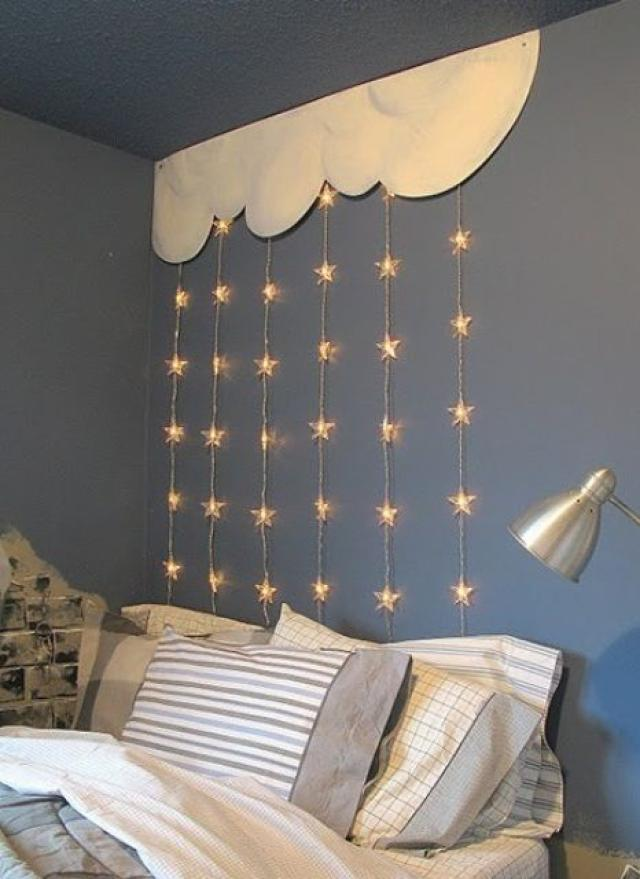 string-lights-above-bed 20+ Best Ceiling Lamp Ideas for Kids' Rooms in 2020