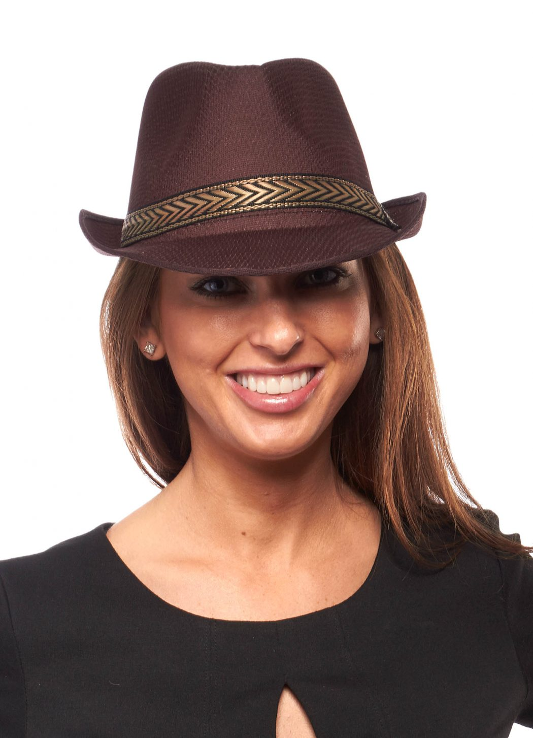 Chevron-banded-Fedora-Hat1 10 Women's Hat Trends For Summer 2017