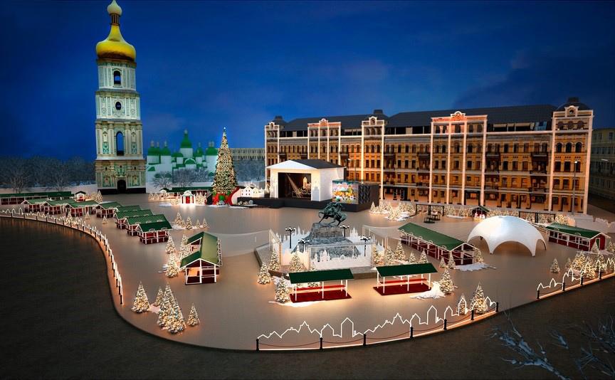 Kyiv-Sofiyska-Square Best cities to visit in Ukraine on Christmas
