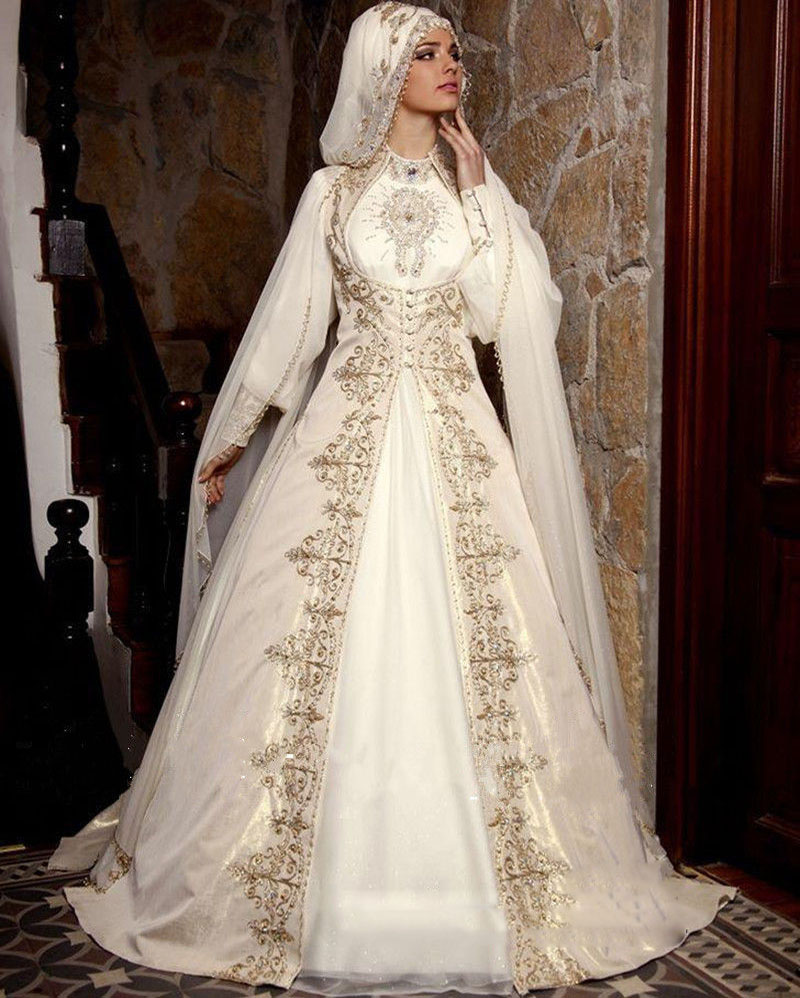 New-Hot-Muslim-Saudi-Arabia-font-b-Wedding-b-font-Dress-font-b-Gold-b-font 5 Stylish Muslim Wedding Dresses Trends for 2020