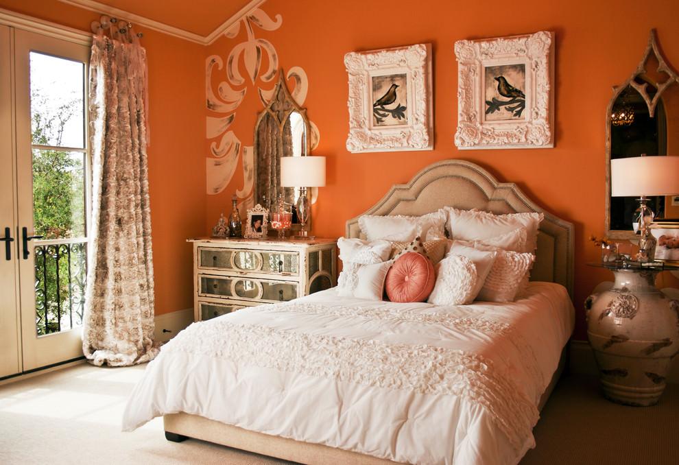 Shabby-chic-style-orange-bedroom-design 25+ Elegant Orange Bedroom Decor Ideas