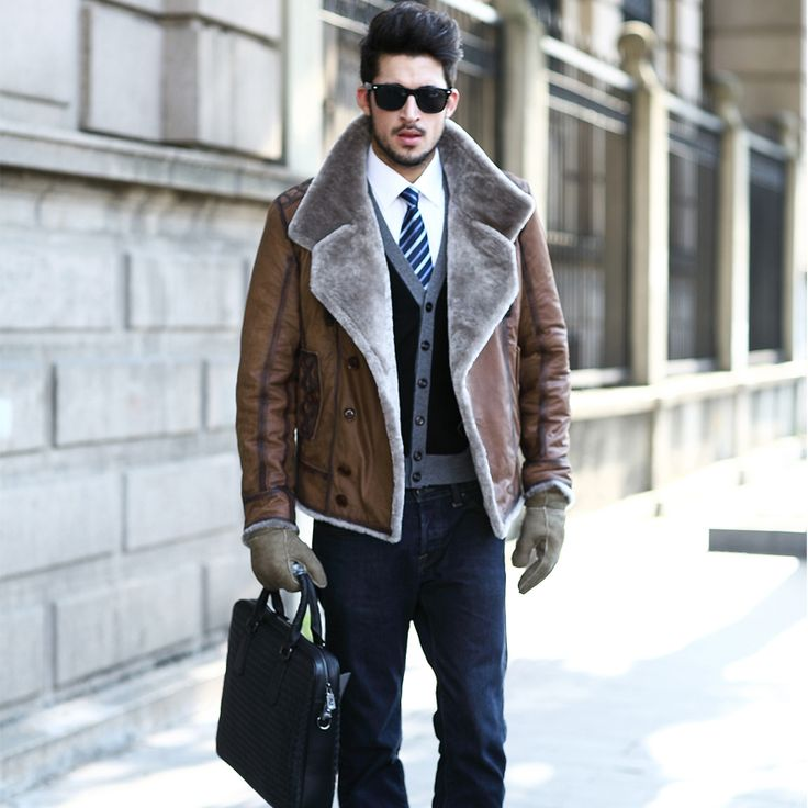 Shearling1 25+ Winter Fashion Trends for Handsome Men in 2017
