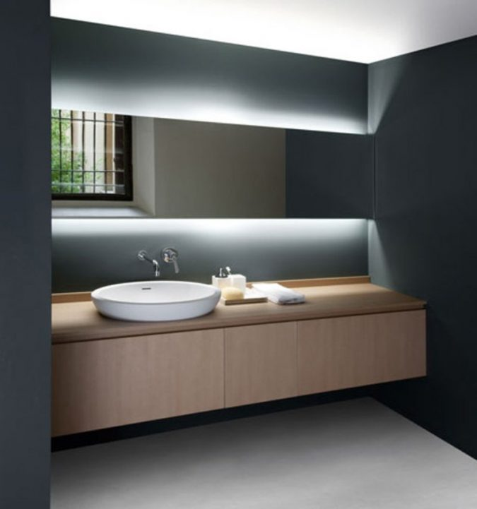 bathroom-mirror-with-built-in-lights2-675x721 Latest Trends: Best 27+ Bathroom Mirror Designs