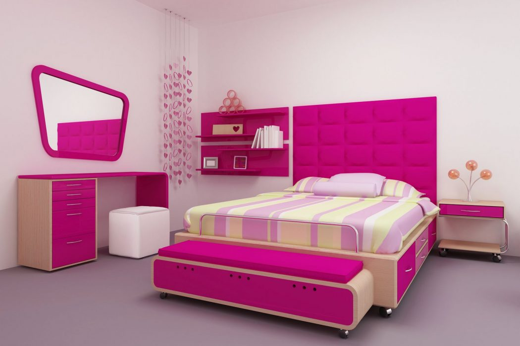 graceful-teenage-girls-bedroom-decorating-ideas-with-movable-wooden-platform-beds-be-equipped-storage-drawers-on-the-right-side-and-pink-upholstered-fabric-king-headboard-shapes-next-to-floating-books 5 Main Bedroom Design Trends For 2017