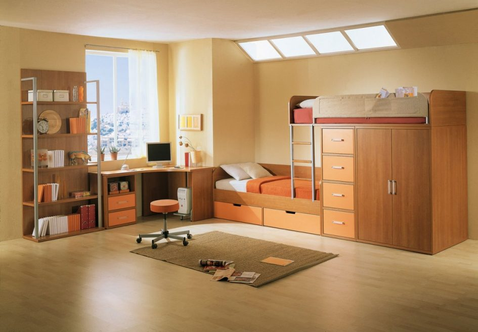 incredible-corner-brown-wooden-bedroom-corner-desk_corner-desk-with-drawer_plus-cpu-space_creamy-wooden-flooring_wooden-daybed-with-storage_light-orange-wall-paint_white-polyester-curtain-945x656 5 Main Bedroom Design Ideas For 2020