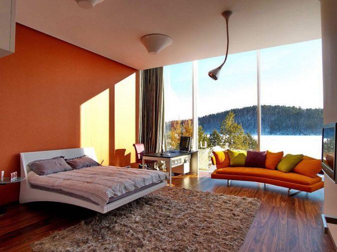 orange-bedroom-with-glass-walls-675x506 25+ Elegant Orange Bedroom Decor Ideas