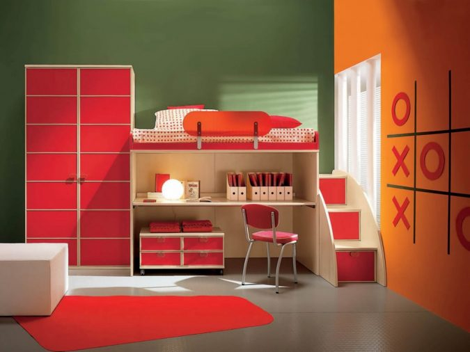 oringe-bedroom-with-original-design-675x506 Best 25+ Orange Bedroom Decor and Design Ideas in 2018
