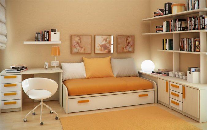 small-orange-bedroom2-675x426 25+ Elegant Orange Bedroom Decor Ideas
