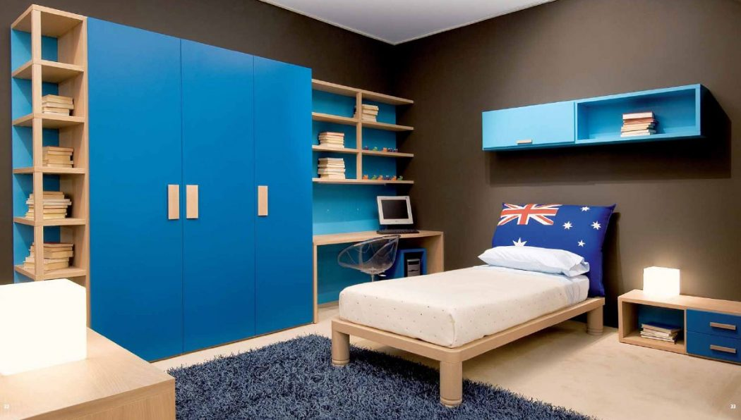 terrific-boys-room-ideas-cool-boy-teen-ideas-decorating-design-with-light-wood-bed-along-white-mattress-along-blue-floating-shelf-and-corner-wooden-desk-and-chair-plus-large-blue-cabinet-storage-books 5 Main Bedroom Design Trends For 2018