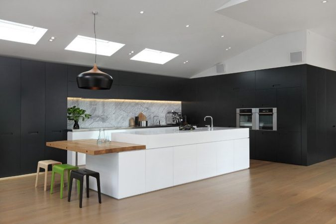 white-ceiling-and-dark-walls-contemporary-kitchen-with-a-wood-flooring-675x450 6 Suspended Ceiling Decors Design Ideas For 2018