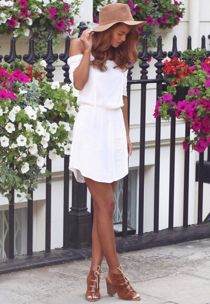 Boho-dress-with-sneakers-Off-The-Shoulder-Outfits-28-675x976 +40 Elegant Teenage Girls Summer Outfits Ideas in 2021