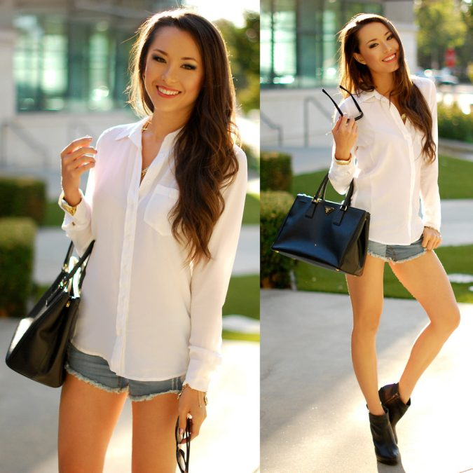 Denim-Shorts-with-White-Blouse-675x675 +40 Elegant Teenage Girls Summer Outfits Ideas in 2021