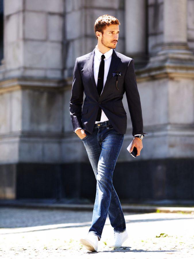 Denim-pants-with-blazer-675x900 14 Splendid Wedding Outfits for Guys in 2021