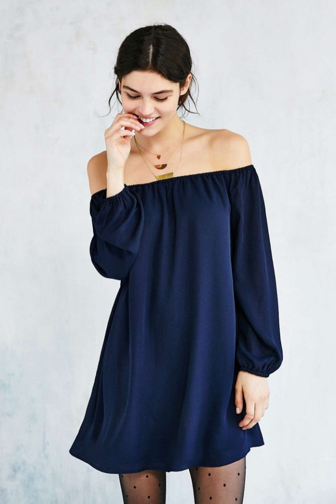 Ecote-Navy-Blue-Off-Shoulder-Swing-Dress-675x1013 +40 Elegant Teenage Girls Summer Outfits Ideas in 2020