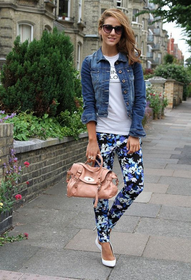 Floral-Pants-with-Denim-Jacket2 +40 Elegant Teenage Girls Summer Outfits Ideas in 2021