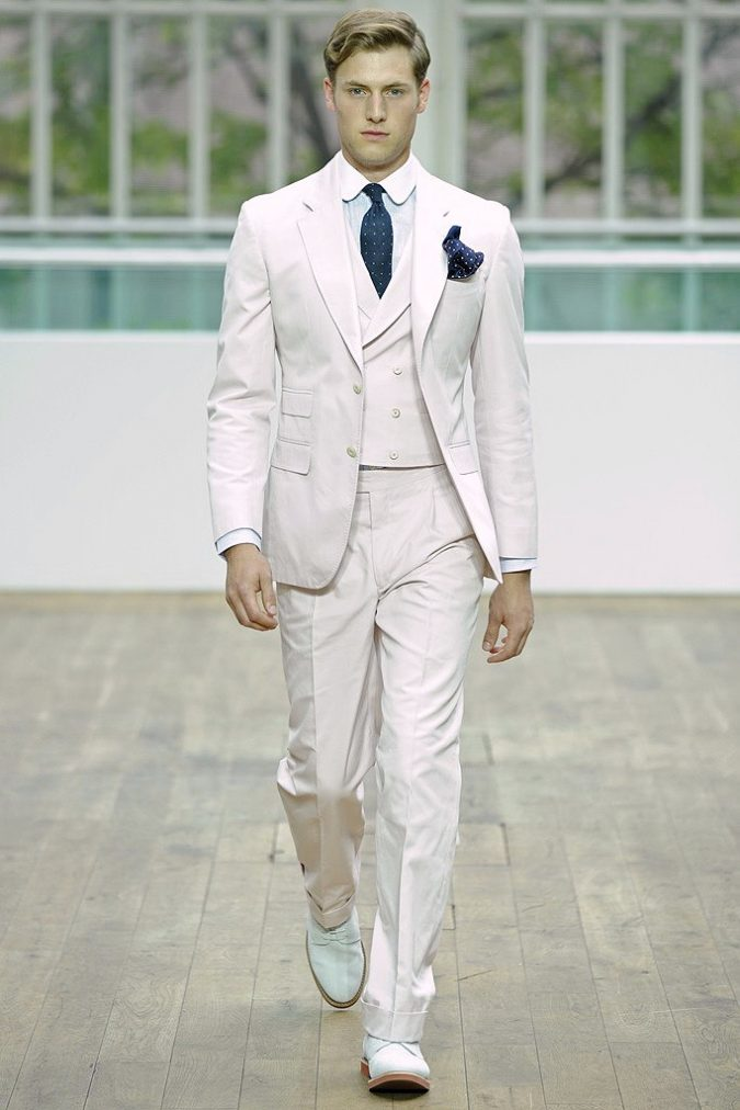 Hackett-Three-Piece-Suit-with-Double-Breasted-Waistcoat-in-White-with-Stripes-675x1012 14 Splendid Wedding Outfits for Guys in 2021