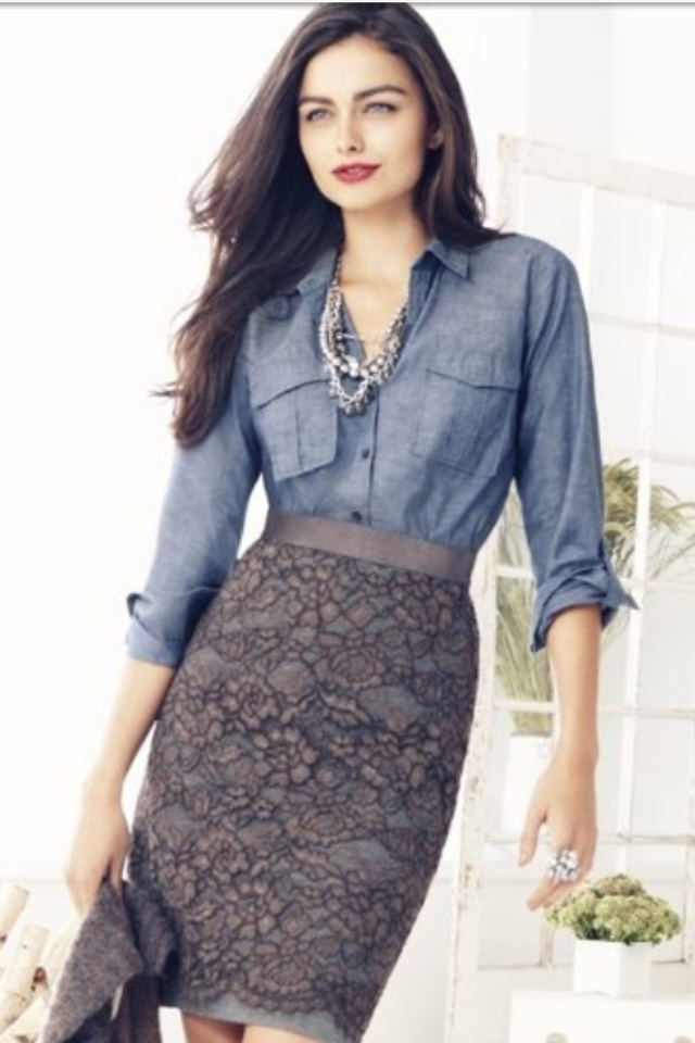 Lace-Skirt-with-Denim-Top +40 Elegant Teenage Girls Summer Outfits Ideas in 2021