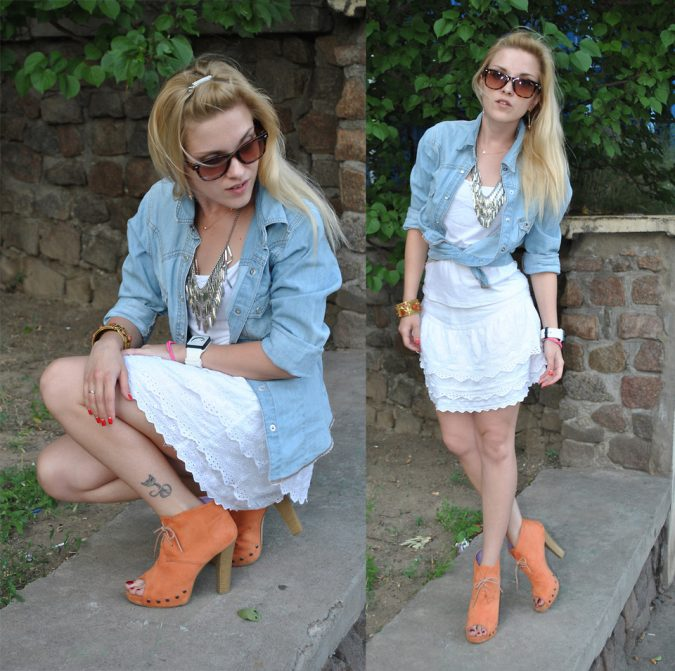 Lace-Skirt-with-Denim-Top2-675x671 +40 Elegant Teenage Girls Summer Outfits Ideas in 2021