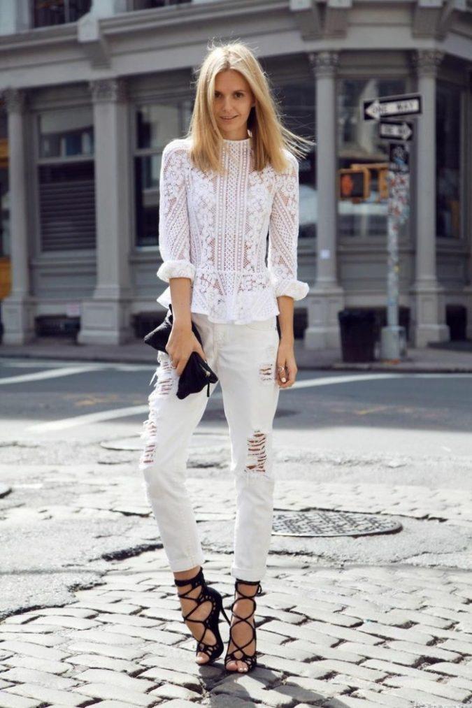 Lace-Top-chic-jean-skinny-femme-tenue-bohème-belle-femme-675x1013 +40 Elegant Teenage Girls Summer Outfits Ideas in 2021
