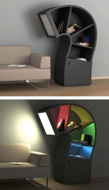Lamp-Bookshelf 83 Creative & Smart Space-Saving Furniture Design Ideas in 2020