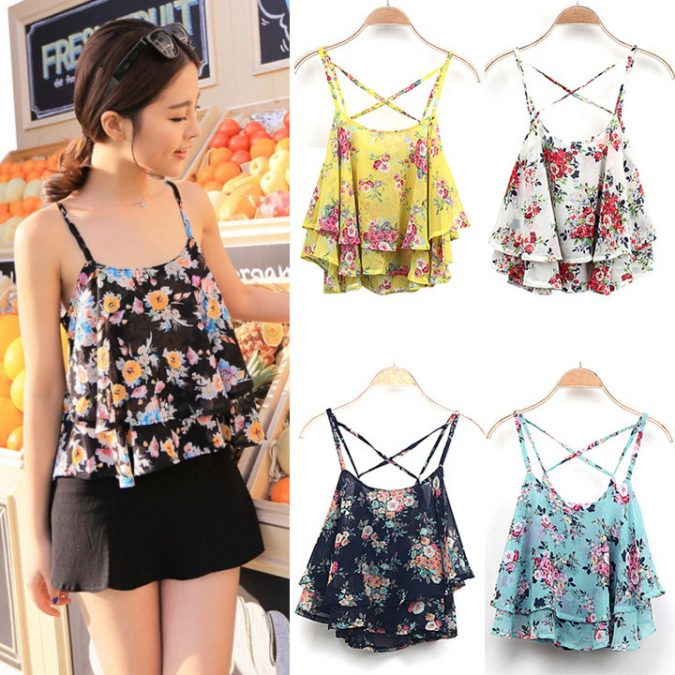 Layered-Top-with-Colored-Short2-675x675 +40 Elegant Teenage Girls Summer Outfits Ideas in 2021