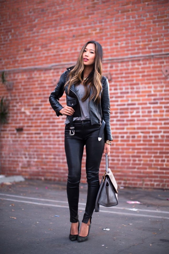 Leather-Jacket-and-Slacks2 18 Work Outfits Every Working Woman Should Have