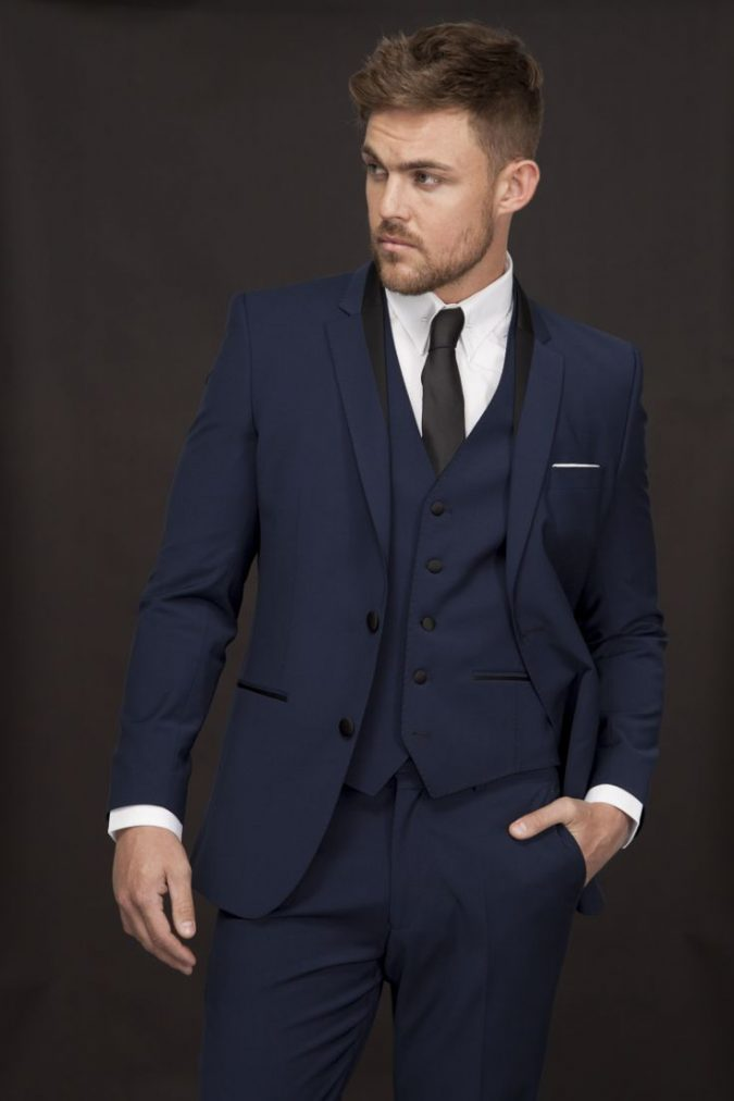 Navy-Satin-Suit2-675x1012 14 Splendid Wedding Outfits for Guys in 2017