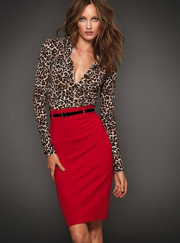Pencil-Skirt-with-Leopard-Top +40 Elegant Teenage Girls Summer Outfits Ideas in 2021