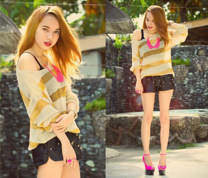 Studded-Short-with-straped-Shirt-675x578 +40 Elegant Teenage Girls Summer Outfits Ideas in 2021