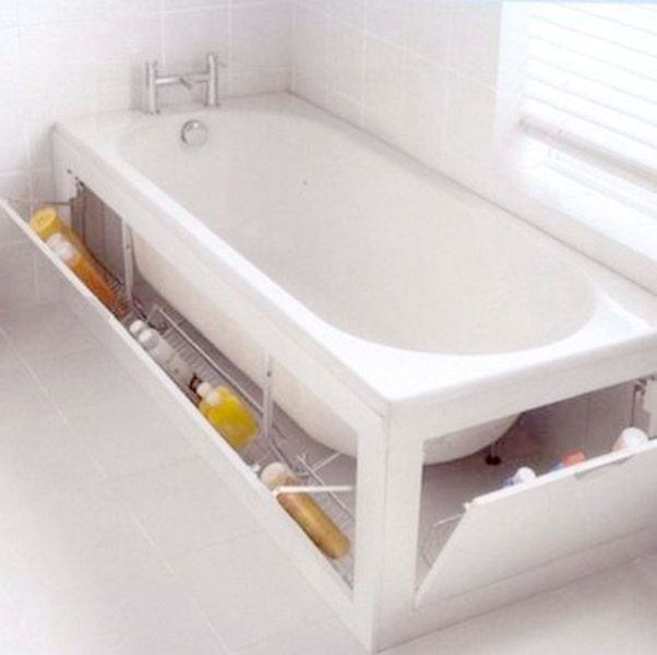 bathtub-surround-storage-idea 83 Creative & Smart Space-Saving Furniture Design Ideas in 2020