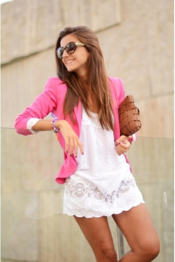 blazer-with-summer-dress +40 Elegant Teenage Girls Summer Outfits Ideas in 2020