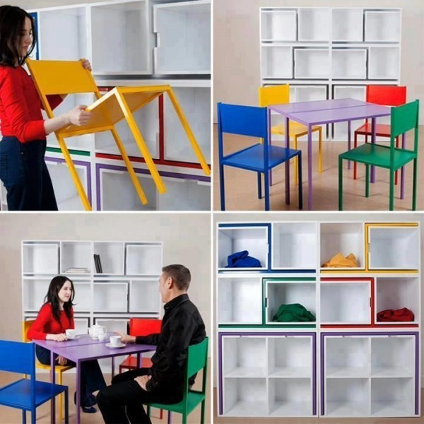 bookshelves-space-saving-dining-set 83 Creative & Smart Space-Saving Furniture Design Ideas in 2020