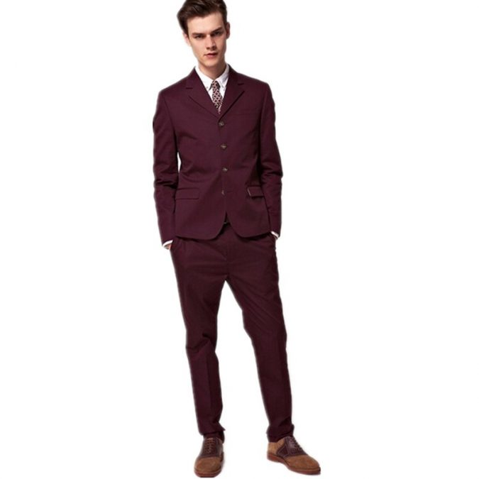 burgundy-suit-custom-made-groom-wedding-suits-675x675 14 Splendid Wedding Outfits for Guys in 2017