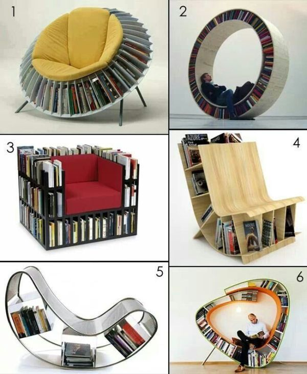 chairs-bookshelves 83 Creative & Smart Space-Saving Furniture Design Ideas in 2020