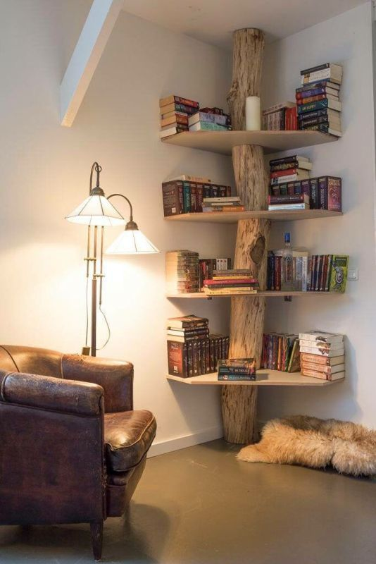 corner-bookshelf 83 Creative & Smart Space-Saving Furniture Design Ideas in 2020