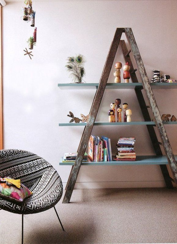 ladder-bookshelf 83 Creative & Smart Space-Saving Furniture Design Ideas in 2020