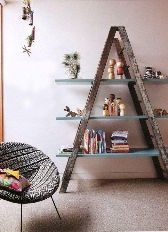 ladder-bookshelf 83 Creative & Smart Space-Saving Furniture Design Ideas in 2018