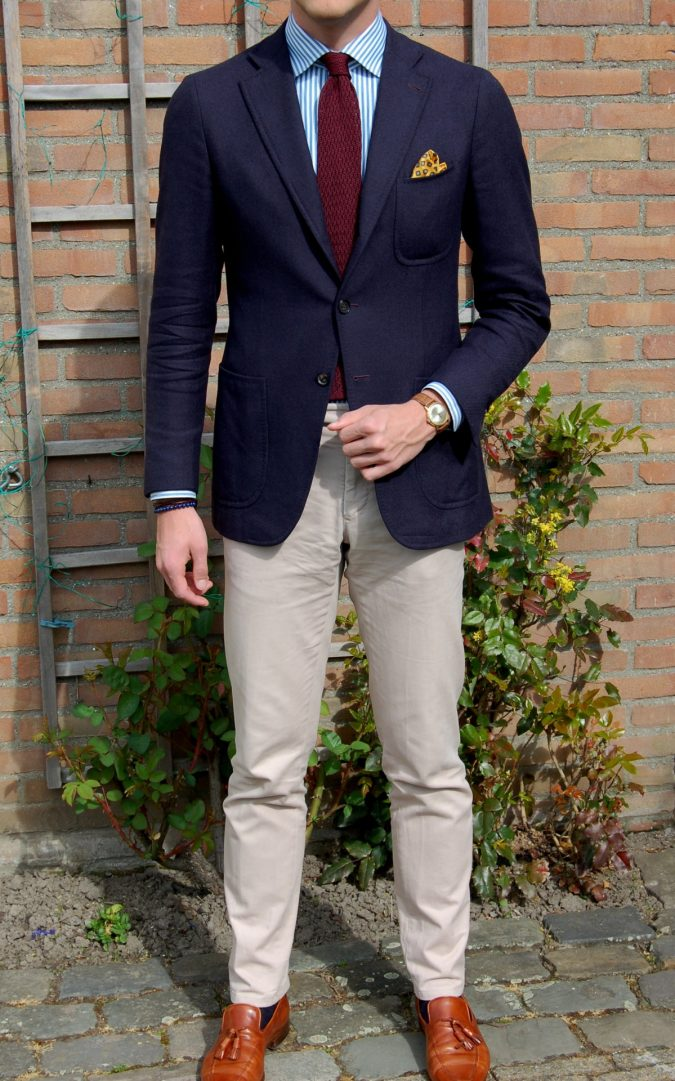 navy-blazer-with-striped-shirt-675x1081 14 Splendid Wedding Outfits for Guys in 2021
