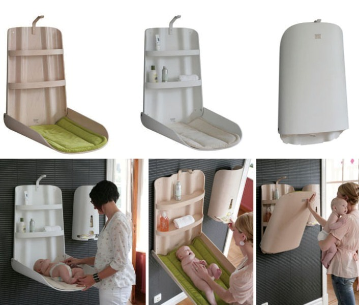 wall-mounted-baby-changing-tables 83 Creative & Smart Space-Saving Furniture Design Ideas in 2018
