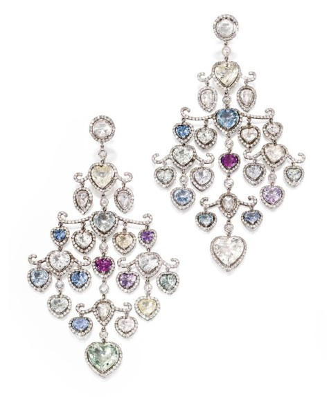 z-Lot-258-Pair-of-Platinum-Multi-Colored-Sapphire-and-Diamond-Pendant-Earrings-Fred-Leighton-475x574 How To Hide Skin Problems And Wrinkles Using Jewelry?