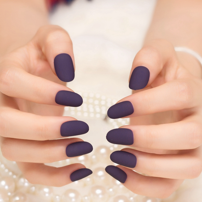 24pcs-Sexy-Frosted-Deep-Purple-Fake-Round-Hand-font-b-Nails-b-font-Simple-Beauty-font 125 years of Fingernails Trends Development