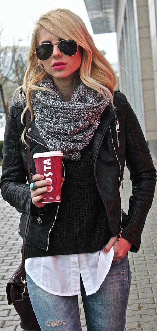 Black-Vegan-Jacket8 5 Casual Winter Outfits for Elegant Ladies