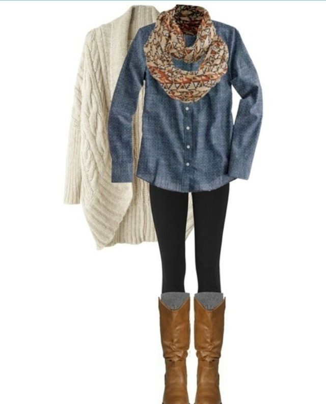 Chambray-shirt-outfit 6 Stylish Fall Outfits for School