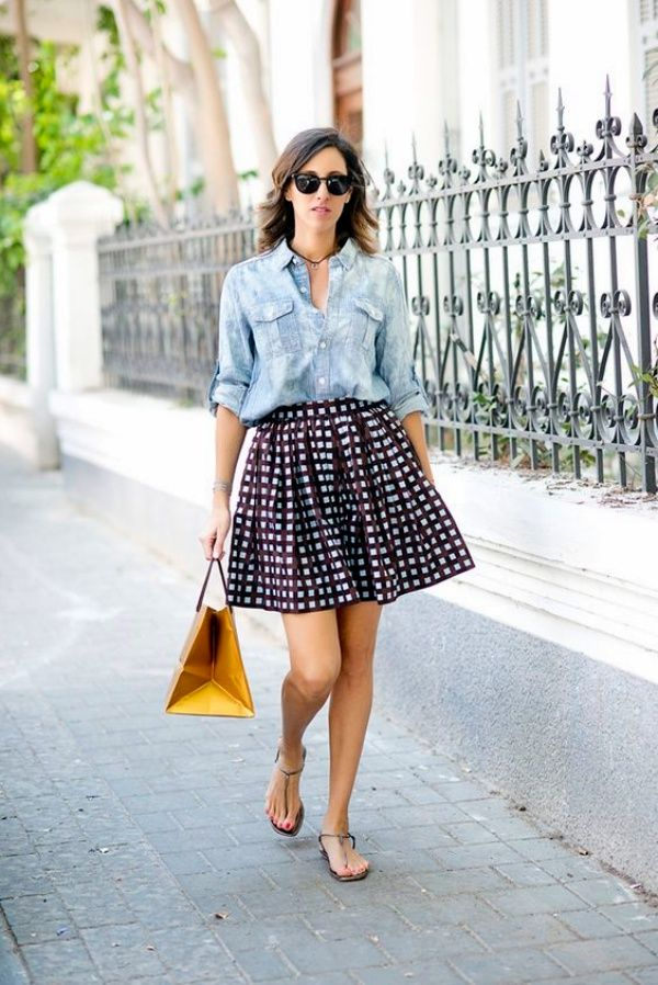 Chambray-shirt-outfit4 6 Stylish Fall Outfits for School