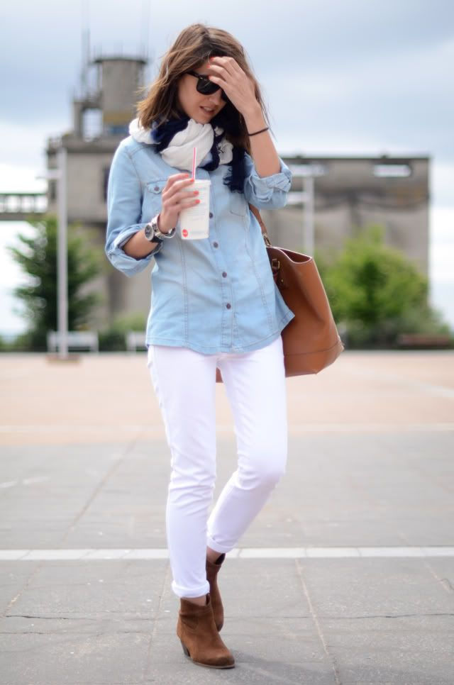 Chambray-shirt-outfit5 6 Stylish Fall Outfits for School