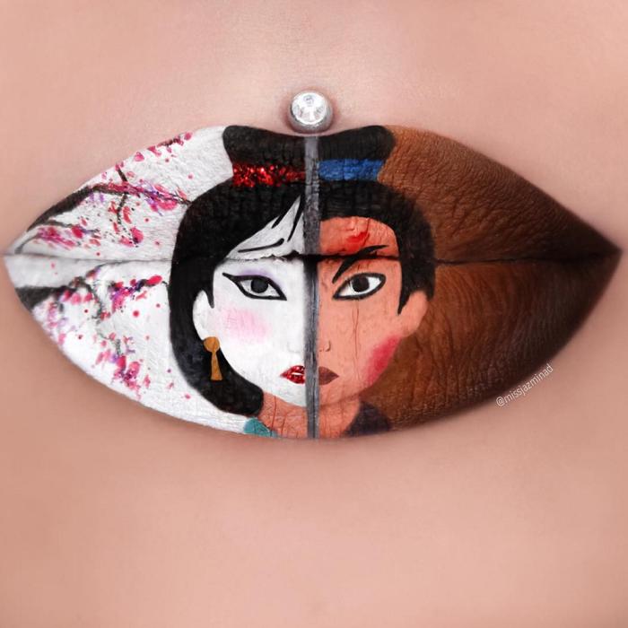 MissJazminaD-Lip-Art-Mulan-700x700 16 Creative Lip Makeup Art Trends in 2019