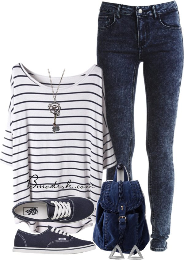 Striped-shirt 6 Stylish Fall Outfits for School