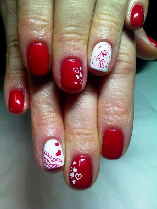 Valentines-Day-Nails-2017-13 50+ Lovely Valentine's Day Nail Art Ideas 2018