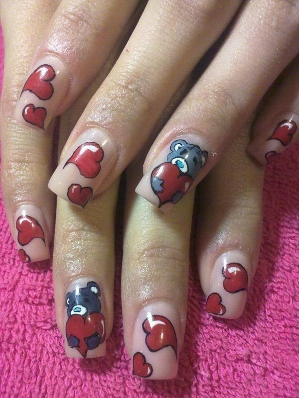 Valentines-Day-Nails-2017-17 50+ Lovely Valentine's Day Nail Art Ideas 2020
