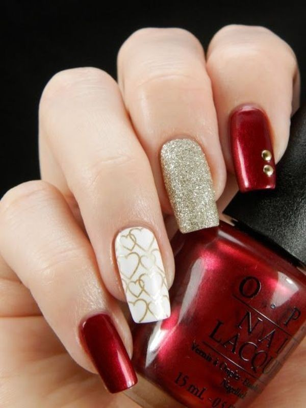 Valentines-Day-Nails-2017-20 50+ Lovely Valentine's Day Nail Art Ideas 2020